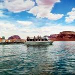 Boating in the desert, Lake Powell, Az